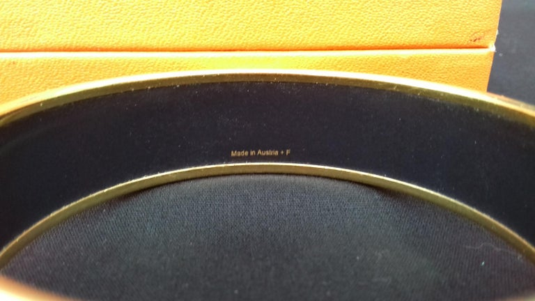 Hermès Enamel Printed Bracelet Elephants Grazing Red Ghw Size GM RARE For Sale 7