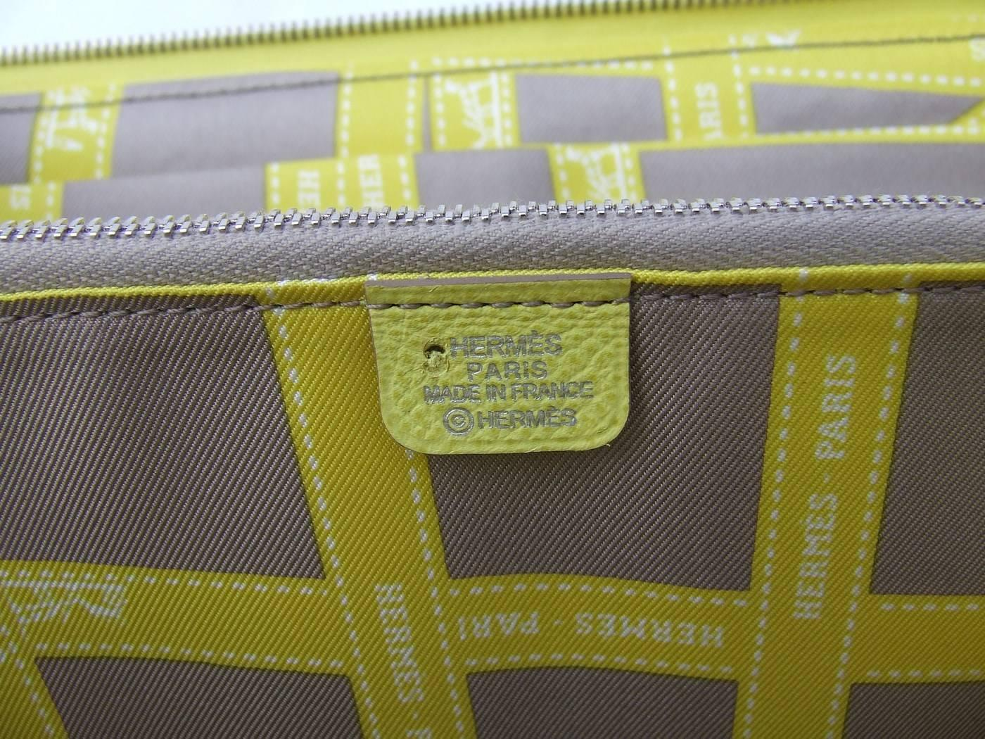 authentic hermes silk in long wallet soufre epsom leather gris silk