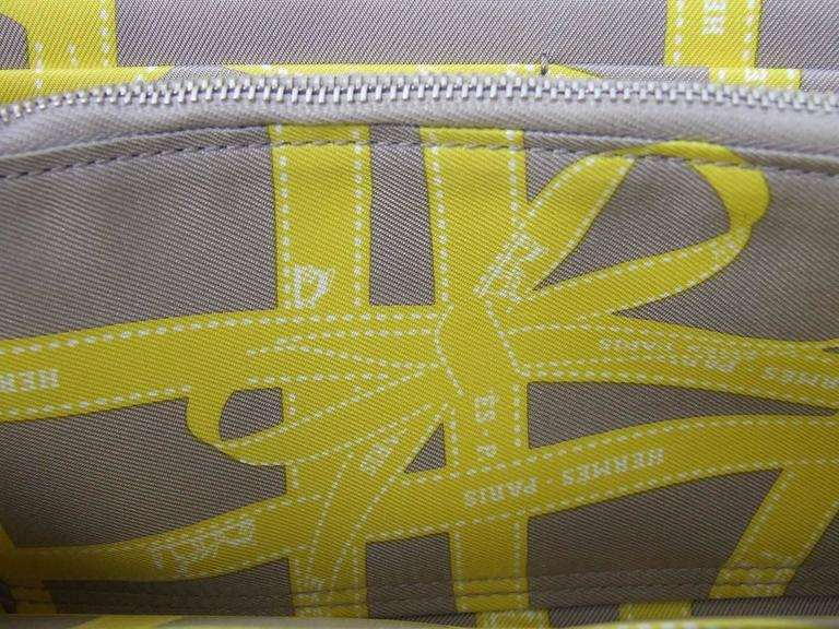 Authentic Hermes Silk In Long Wallet Soufre Epsom Leather Gris Silk For Sale 1