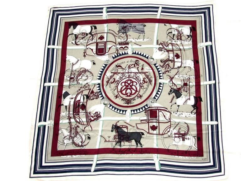 """BEAUTIFUL AUTHENTIC HERMES SCARF  Called """"IMPRIMEUR FOU"""" as it is a mix of 2 patterns: """"EX LIBRIS"""" and """"COUVERTURES ET TENUES DE JOUR""""  Made in FRANCE  Made of cotton (58%) and Silk (42%)   Light and soft, very comfortable to wear  Colors:"""