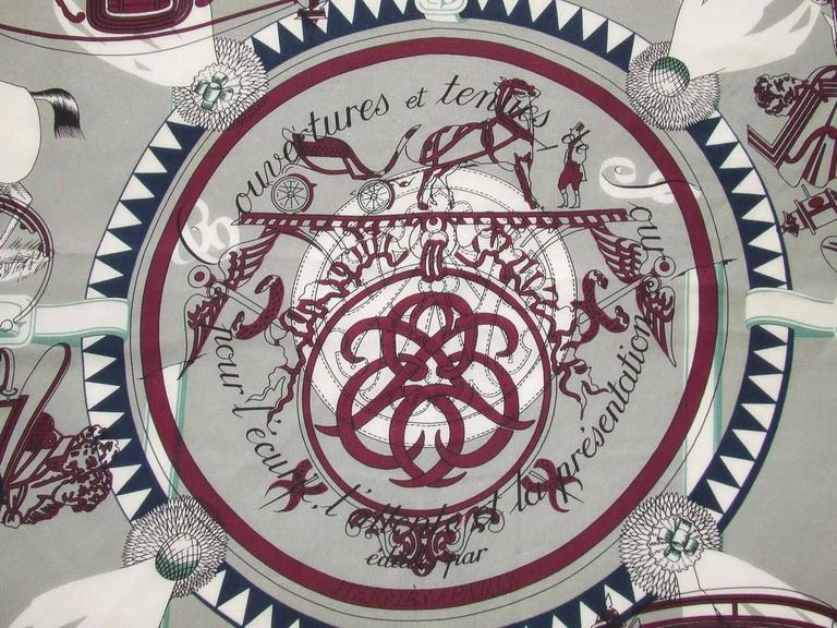 Authentic Hermes Cotton Silk Scarf Imprimeur Fou RARE In Excellent Condition For Sale In ., FR