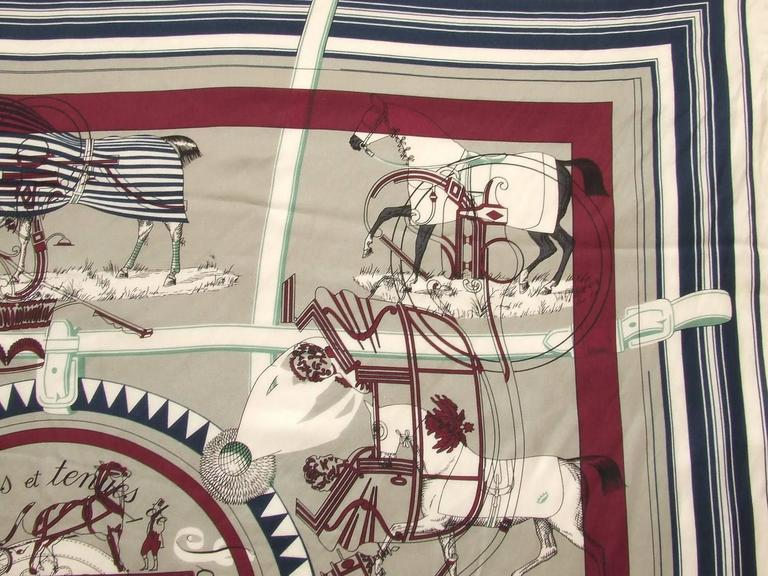 Authentic Hermes Cotton Silk Scarf Imprimeur Fou RARE 5