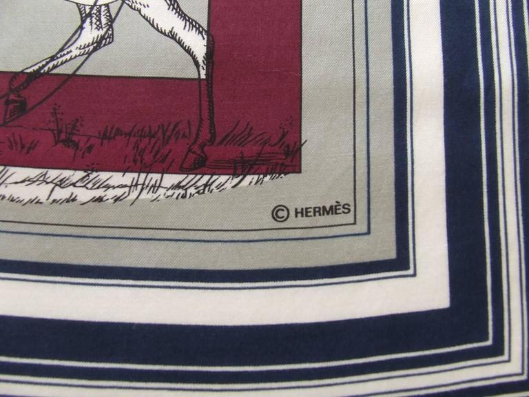 Authentic Hermes Cotton Silk Scarf Imprimeur Fou RARE For Sale 2