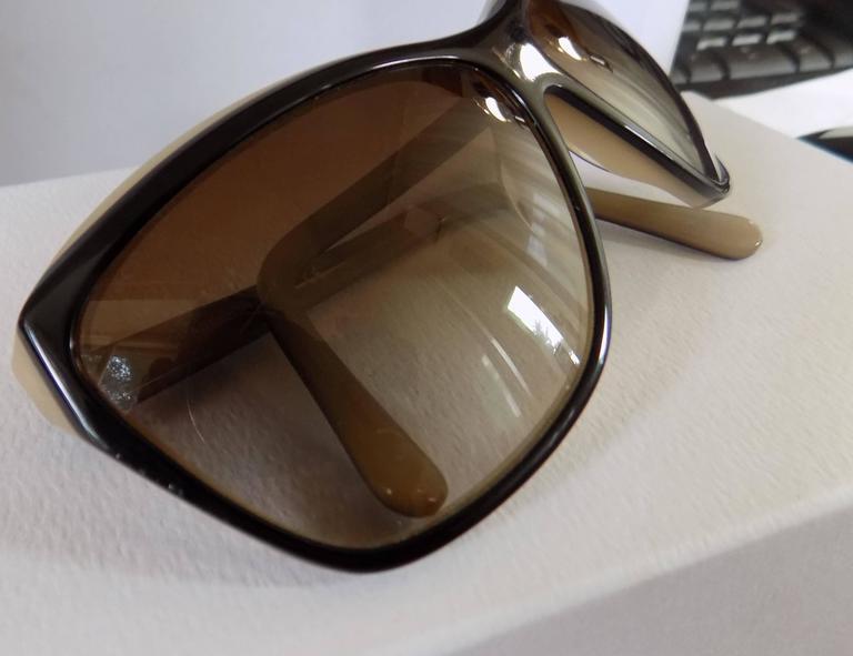 Chanel Black Cream Sunglasses In Excellent Condition For Sale In Capri, IT