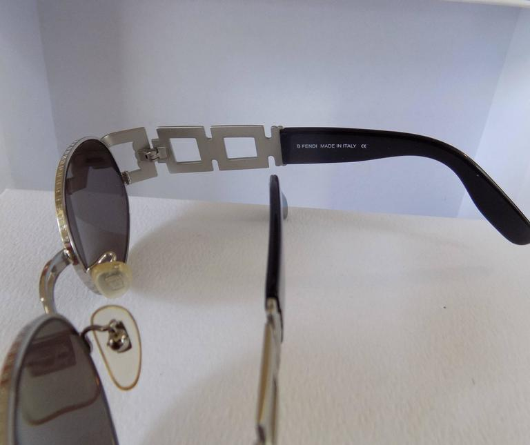 Women's or Men's Fendi Black Silver Sunglasses For Sale