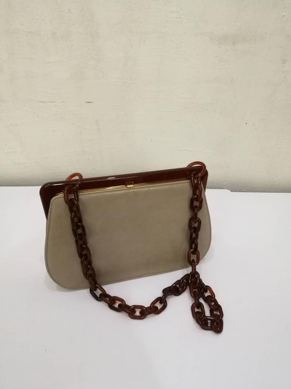 1970s Prada Taupe Baguelite Shoulder Bag Totally made in italy Gold tone  hardware Baguelite shoulder lenght 1725bc28ae135