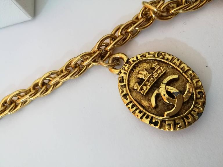 Chanel Gold Tone with CC crown pendants 2