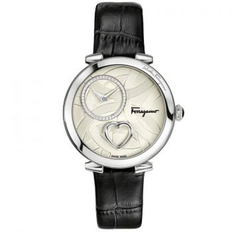 Salvatore Ferragamo Cuore Black Wrist Watch For Sale