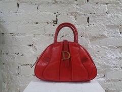 Christian Dior red leather ostrich stamp handbag