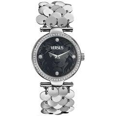 Versus silver tone sainless steel bracelet wrist crystal swarovski watch