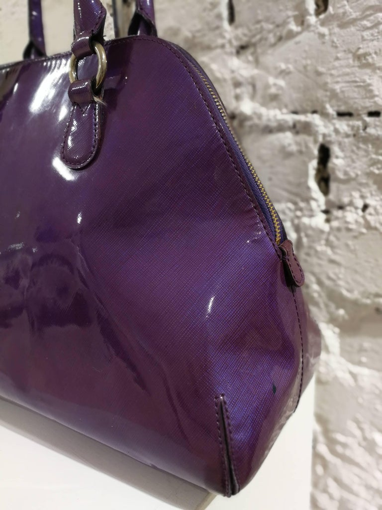 Purple Moschino Patent Leather Bag For