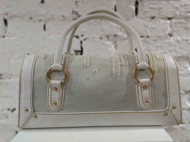 Dolce & Gabbana white leather Denim Handle Shoulder Bag For Sale 1