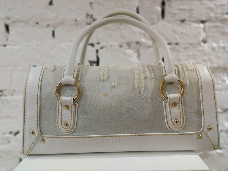 Dolce & Gabbana white leather Denim Handle Shoulder Bag For Sale 2