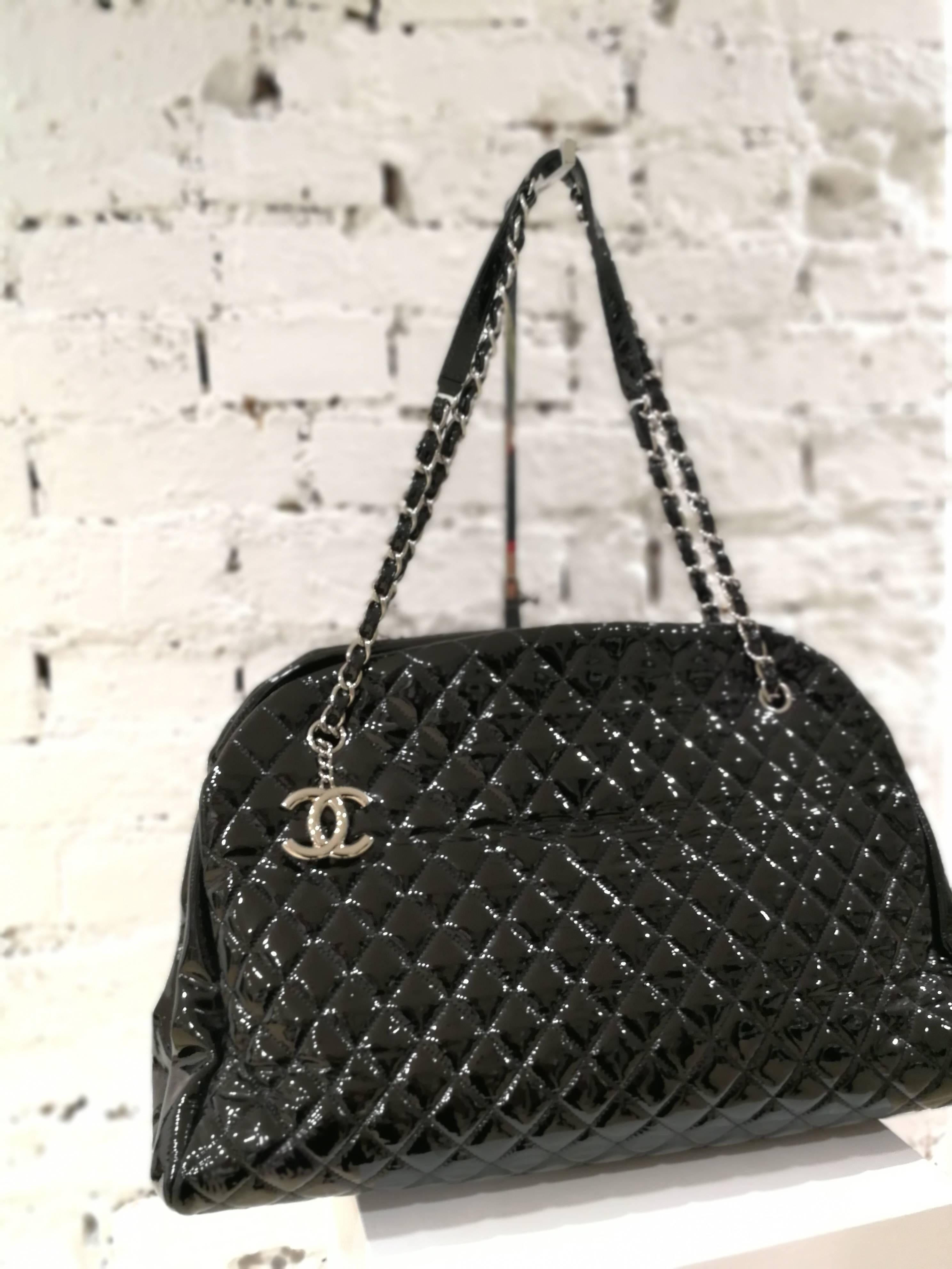Chanel Just Mademoiselle Bowler Black patent Leather Bag at 1stdibs 20ecc3d5d2
