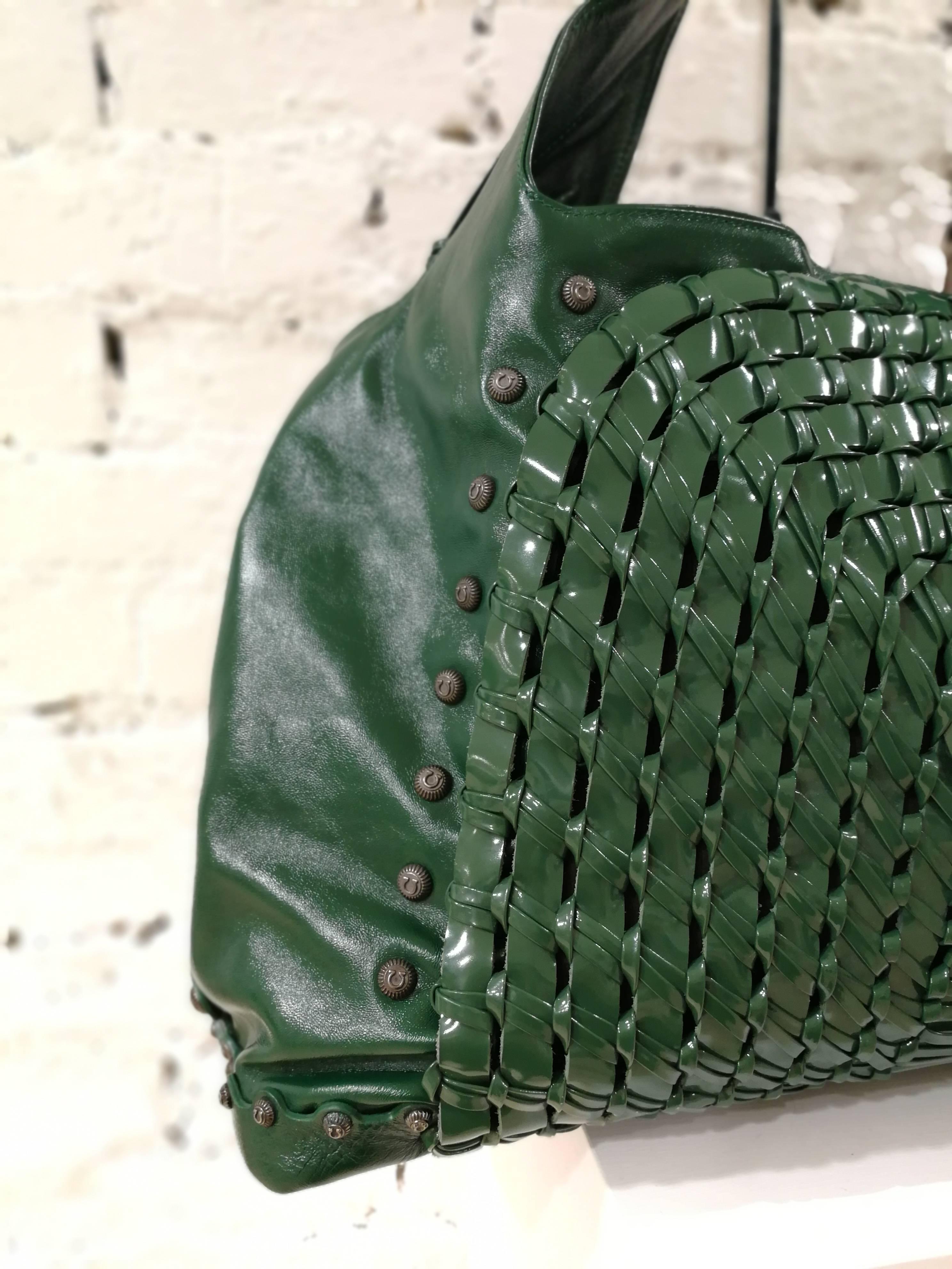 Salvatore Ferragamo Green Patent Leather Edera Hobo Shoulder Bag 4X2f01