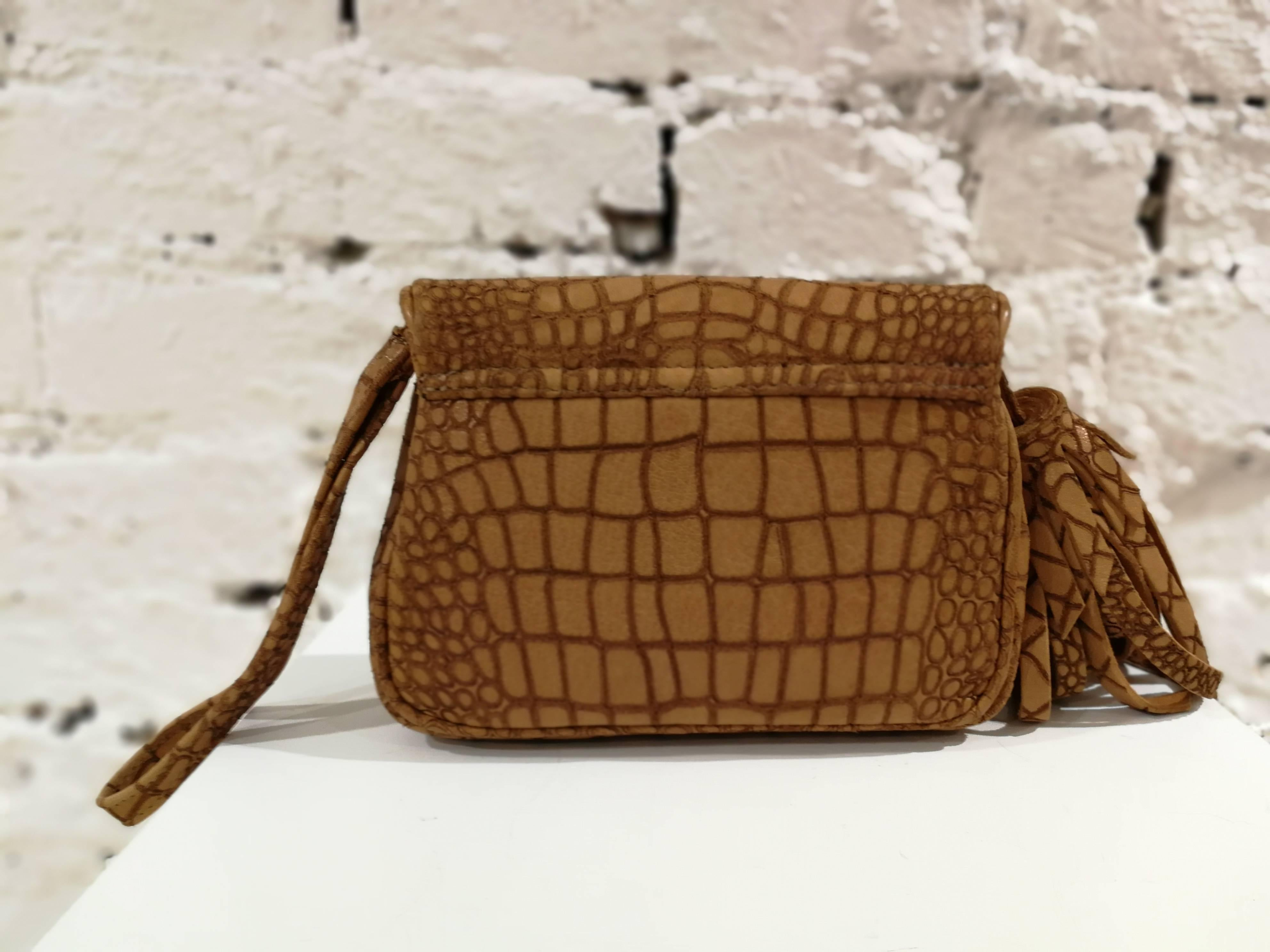 1stdibs Aphros Brown Leather Croco Stamp Handle - Shoulder Bag J4one7QaGS