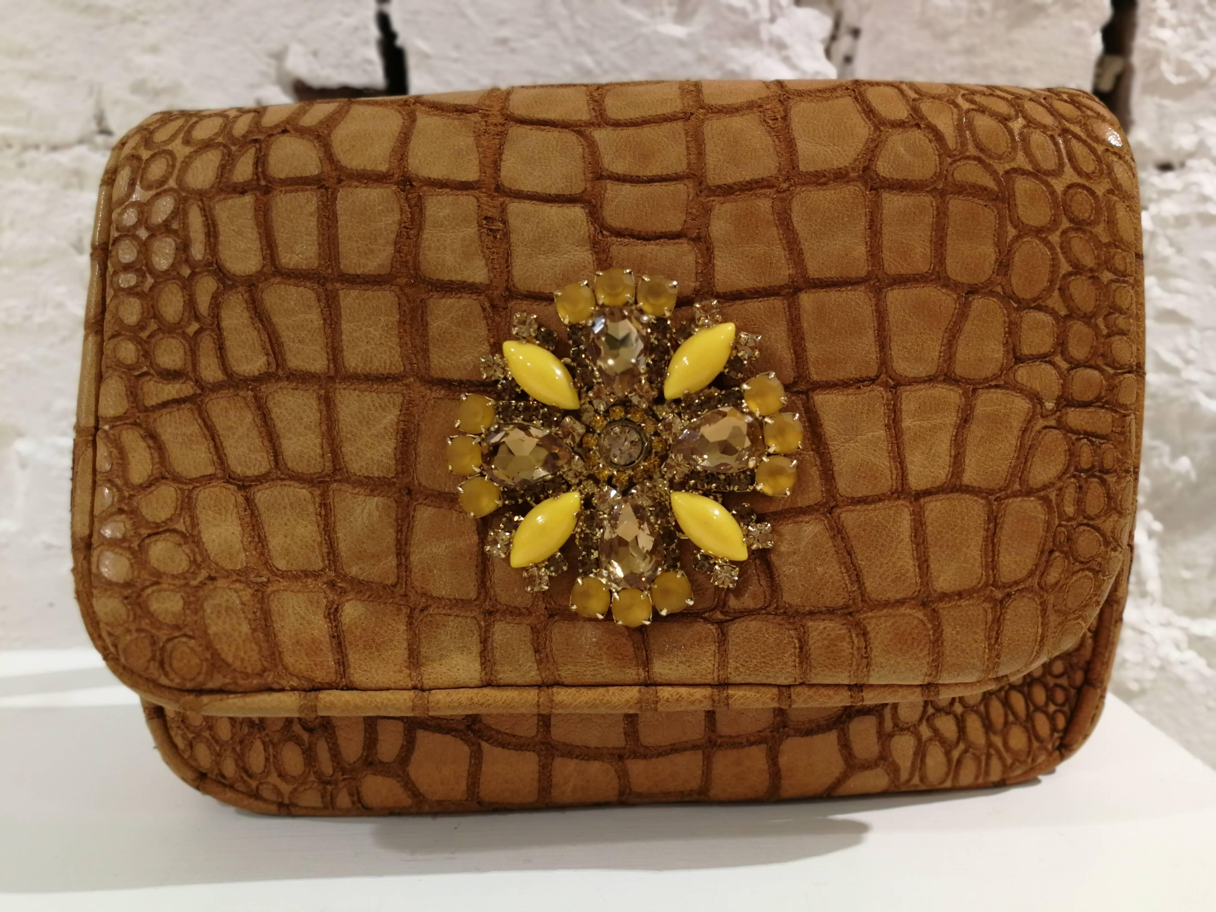 1stdibs Aphros Brown Leather Croco Stamp Handle - Shoulder Bag WrUiAM2