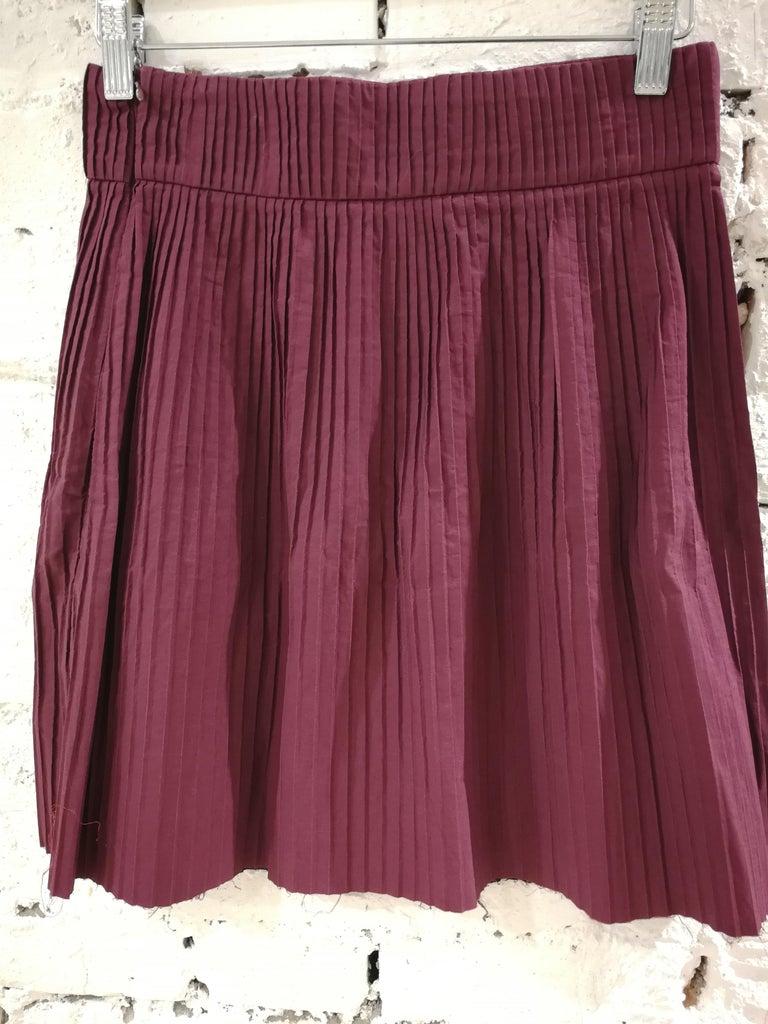 Miu Miu Bordeaux Cotton Skirt In Excellent Condition For Sale In Capri, IT