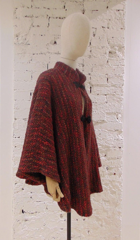 Wool multicoloured handmade cape one size