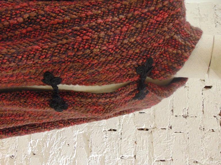 Black Wool multicoloured handmade cape For Sale