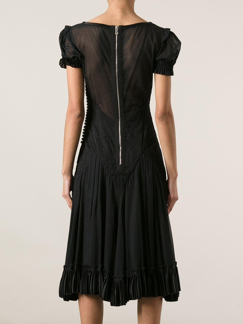 1990s Dolce and Gabbana Semi sheer Kaftan Black Dress 2