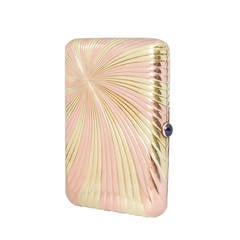 Faberge Bi-Color Ribbed Gold Cigarette Case