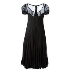 1990s Dolce and Gabbana Semi sheer Kaftan Black Dress