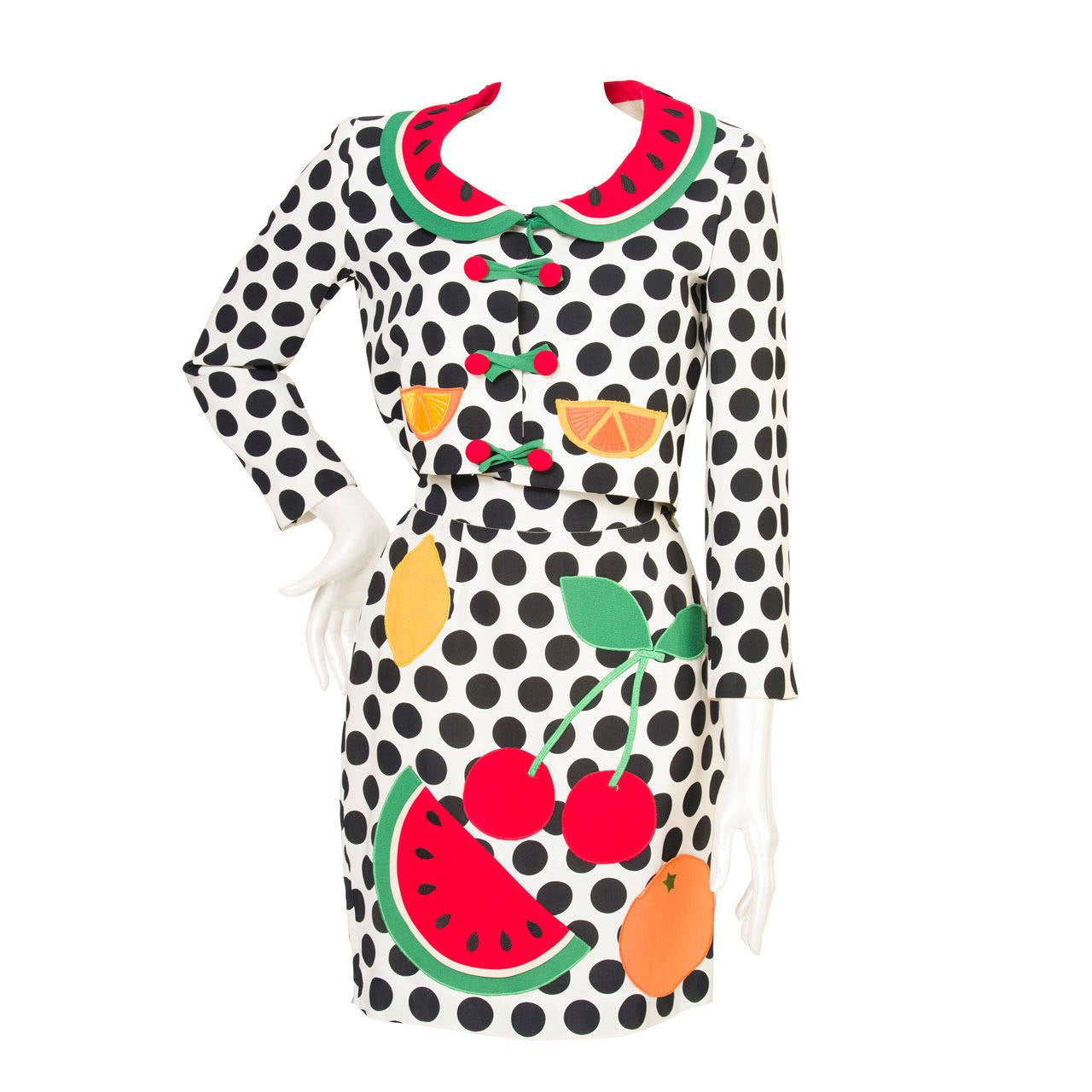 1980s Moschino Cheap & Chis Watermelon Collection Polka Suit 1