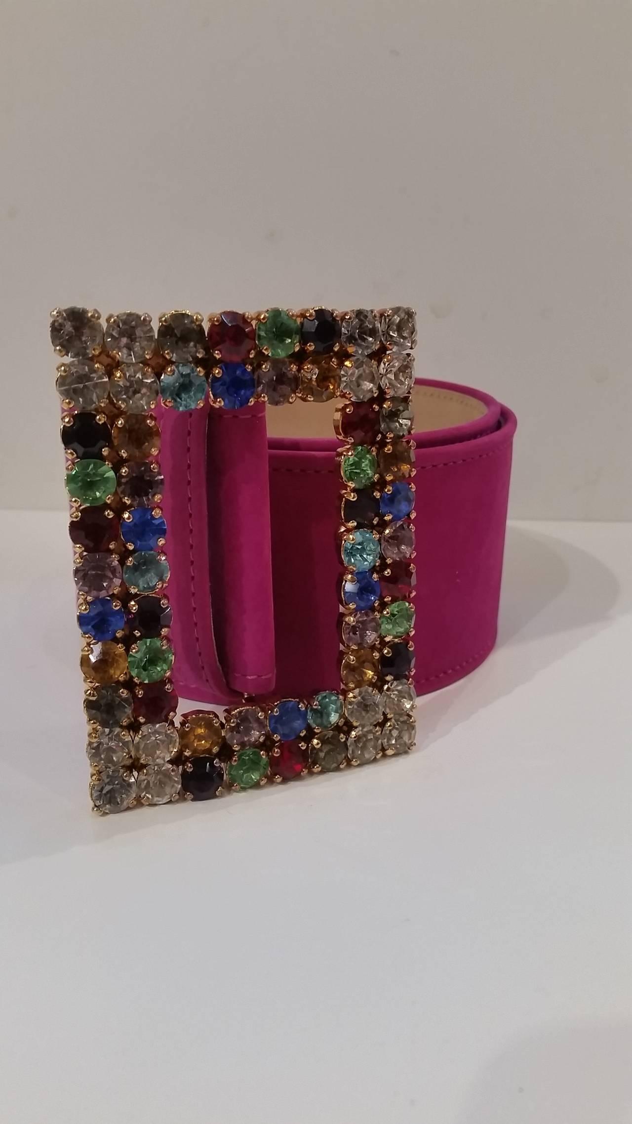 1970s Moschino Vintage fuchsia belt with Swarovski crystals 2