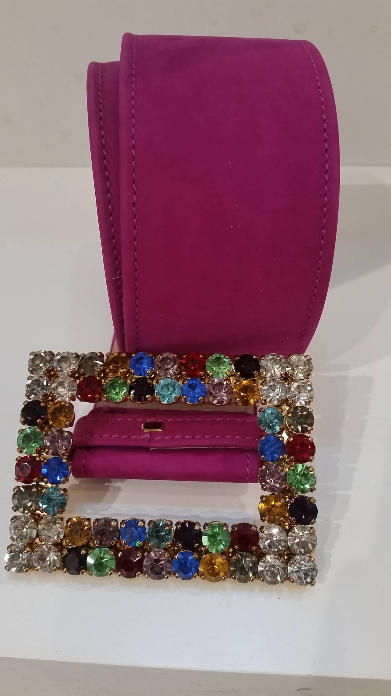 1970s Moschino Vintage fuchsia belt with Swarovski crystals 3