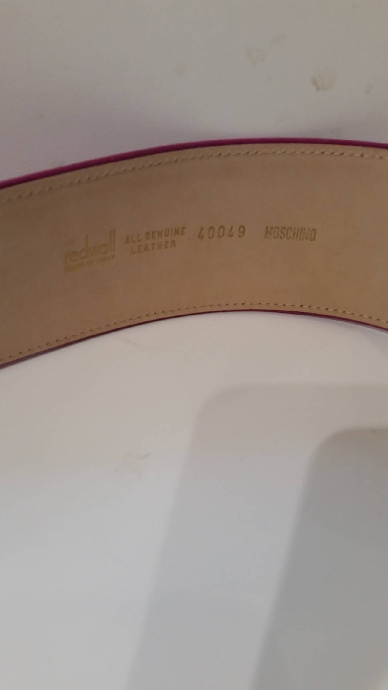 1970s Moschino Vintage fuchsia belt with Swarovski crystals 4