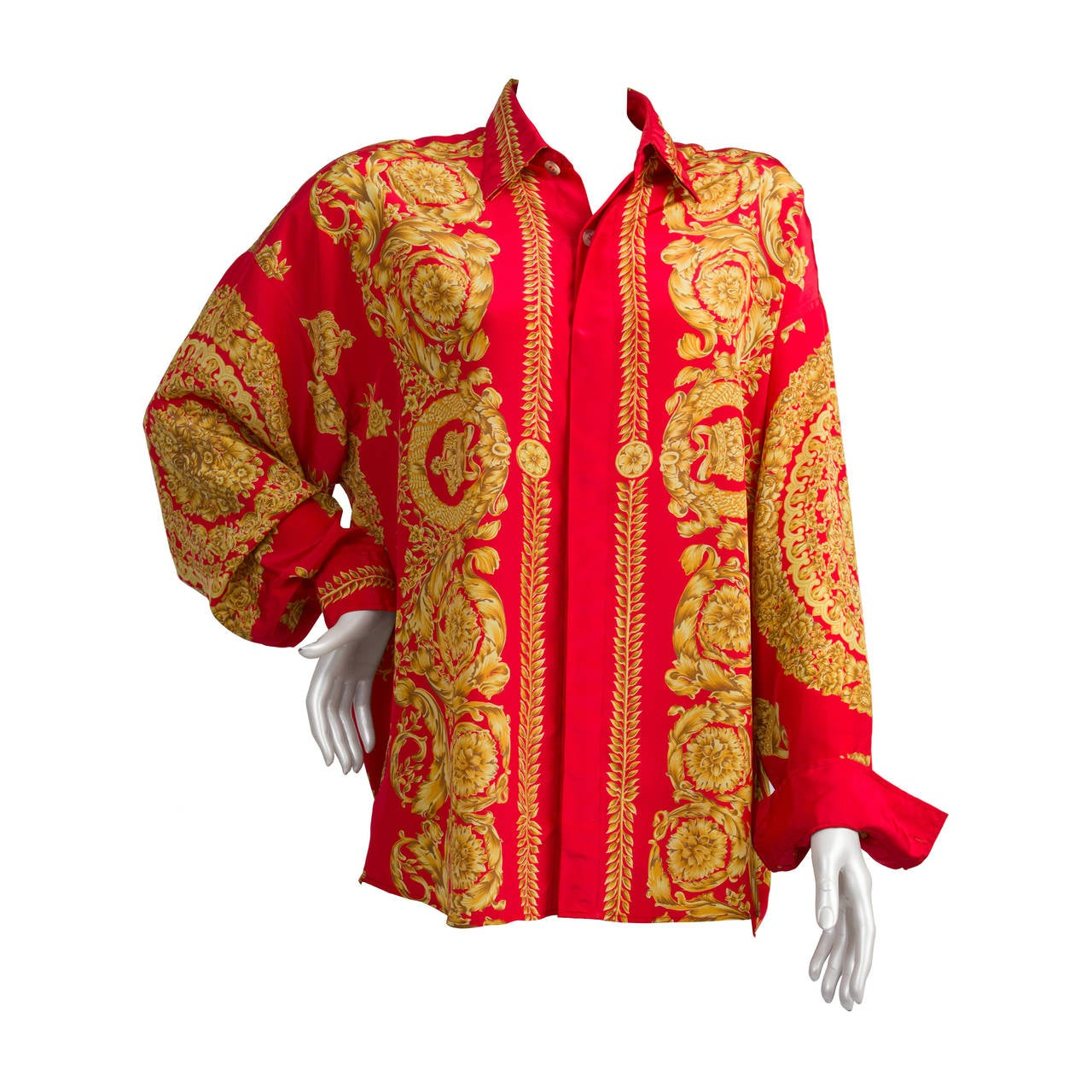 1990s Gianni Versace Iconic Red And Gold Shirt At 1stdibs