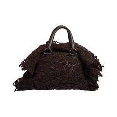 2007s Prada Pizzo Lace Covered Leather Bowling Bag in Brown