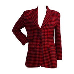 1980s Moschino Couture Pied de Poule red and black jacket