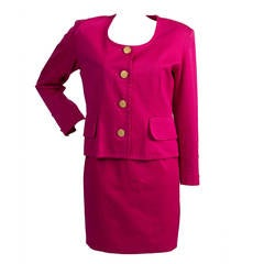 1980s Yves Saint Laurent variation fucsia suit