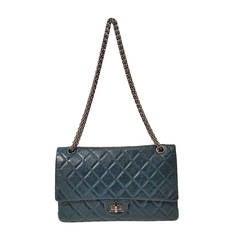 2013 Chanel dark green leather shoulder bag