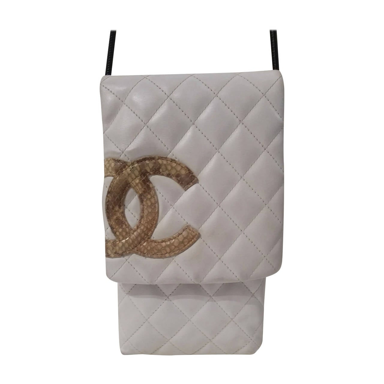 2004 Chanel white cambon shoulder bag with CC Python skin For Sale
