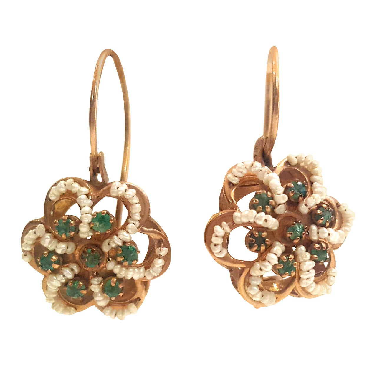 1950s 12kt gold earrings with pearls and emerald for sale