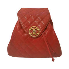 1986s Chanel red backpack with gold hardware
