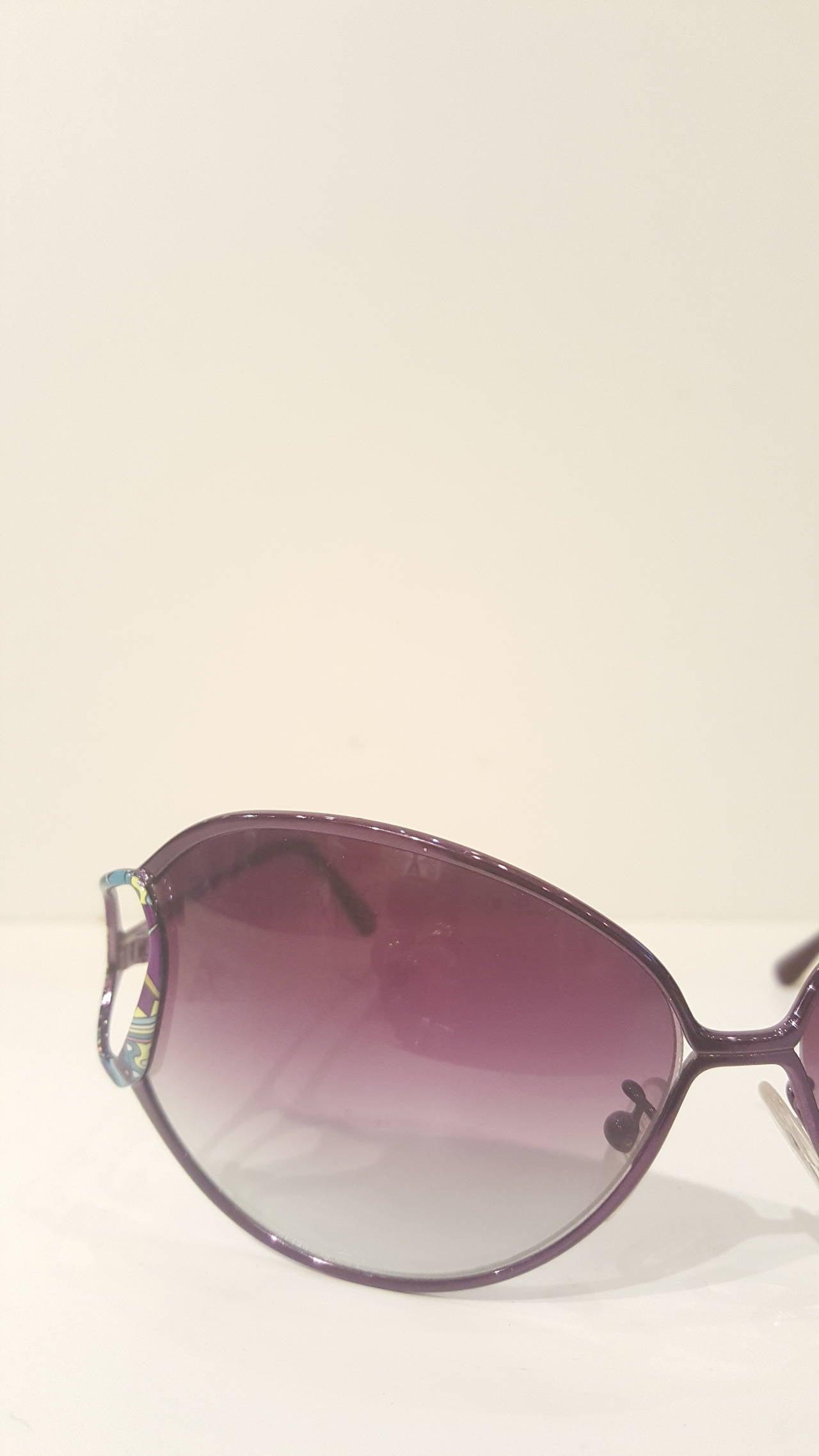 Gray 1990s Emilio Pucci purple sunglasses For Sale