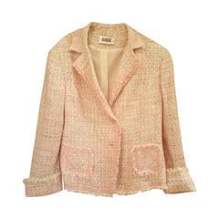 1980s Biba light pink and multicolour jacket