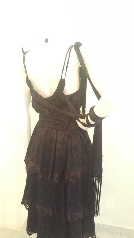 2000s Antonio Berardi black dress with fringes NWOT In New Condition For Sale In Capri, IT