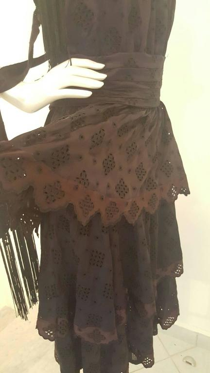 Women's 2000s Antonio Berardi black dress with fringes NWOT For Sale