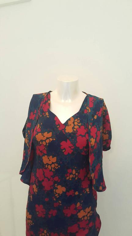 Black 1970s Yves Saint Laurent navy with flowers dress For Sale