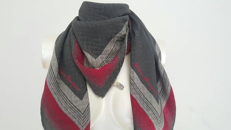 1990s Salvatore Ferragamo multicolour foulard   2