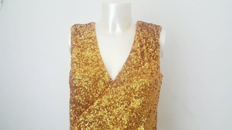 2000s Halston Heritage gold sequins dress Still with original tags