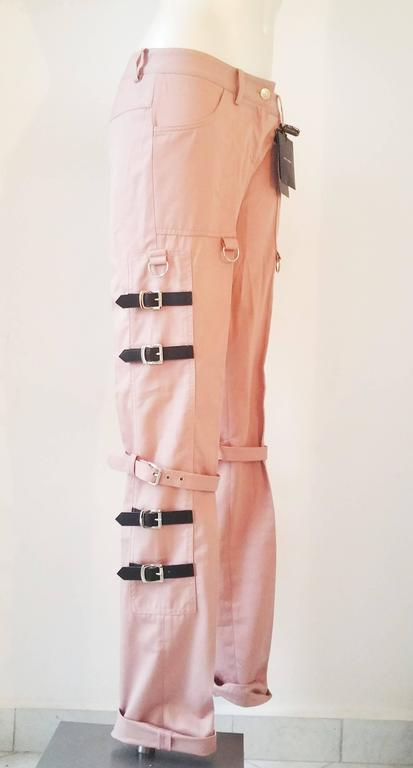 Brown 2000s Dolce & Gabbana pink pants with straps NWOT For Sale
