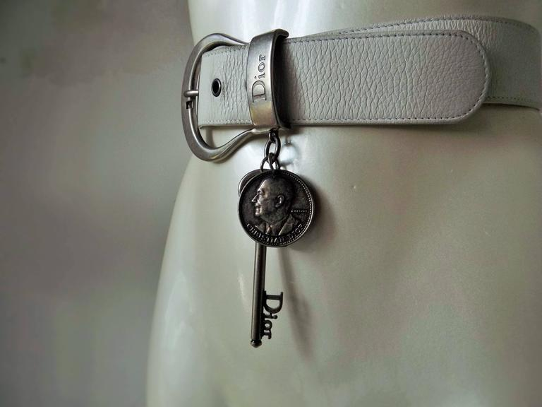 1980s Christian Dior white leather key coin belt  5