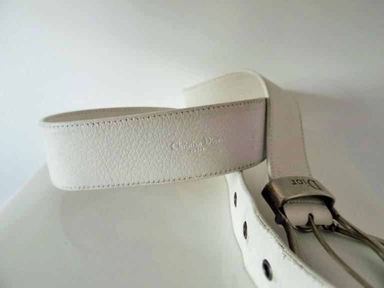 1980s Christian Dior white leather key coin belt  8