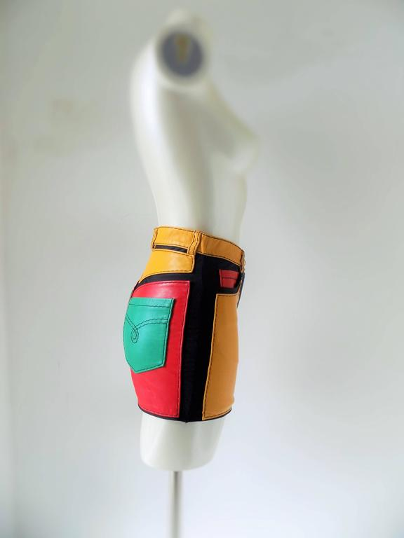 1993s Moschino Leather colour block Leather shorts 3